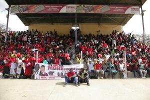 Supporters crowd Sakubva Stadium awaiting the arrival of Morgan Tsvangirai